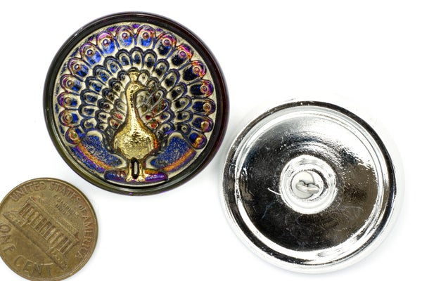 Czech Glass Button, Vitrail Peacock, Blue/Purple w/ Gold, 33mm