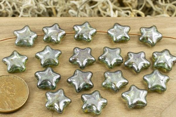 Czech Glass Pressed Star, Deep Green Luster, 12mm
