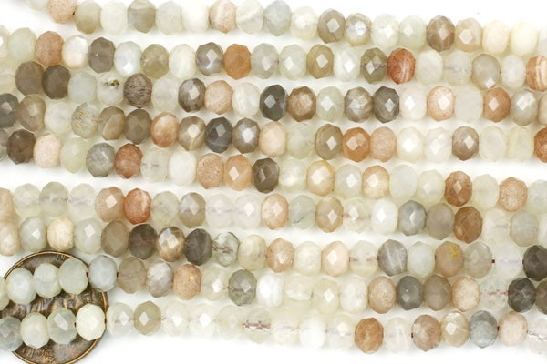 Mixed Moonstone Faceted Rondelle, 6x4mm