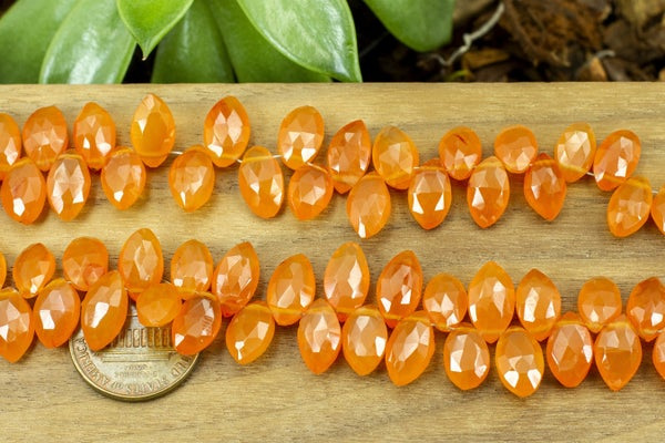 Indian-Cut Carnelian Semi-Regular Marquise Brios, Occasional imperfections, ~11x6mm