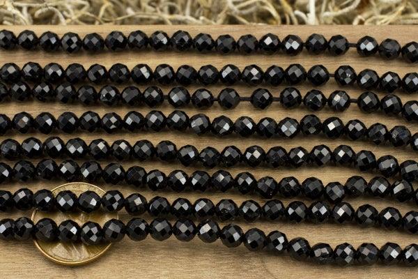 Black Tourmaline Faceted Round, 5mm
