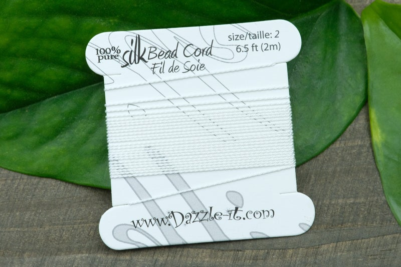 Silk Knotting Cord with Needle Attached, Size 2, White