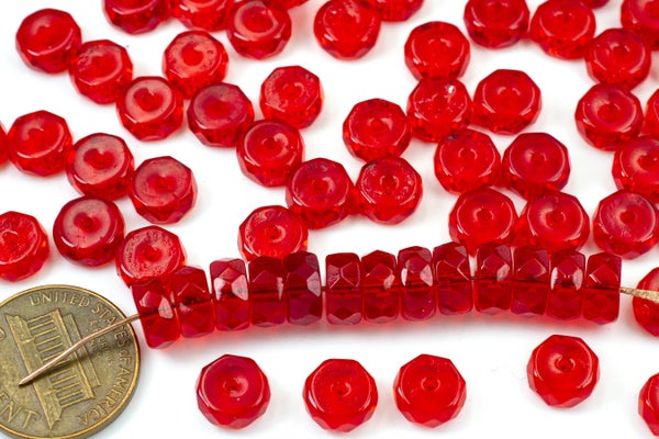 Czech Glass Faceted Heishi, Bright Red, 8x4mm