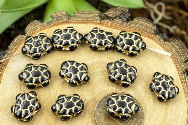 Czech Glass Turtle, Black Gloss Gold, 11x13mm