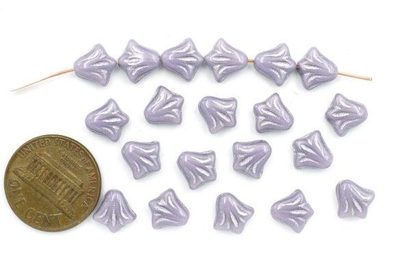 Czech Glass Lily, Lilac w/ Silver Wash, 8.5mm