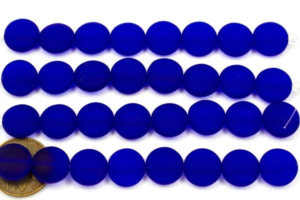 Cultured Sea Glass Coin, Royal Blue, 12mm