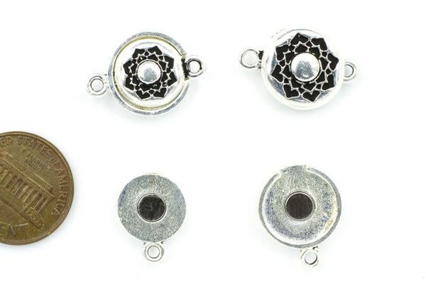TierraCast Lotus Magnetic Clasp Set, Antiqued Silver Plate, 14mm