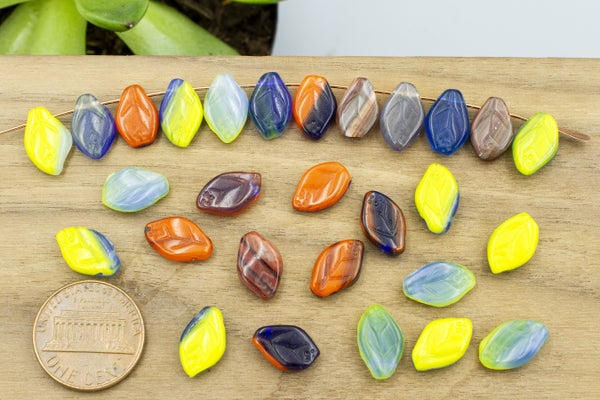 Vintage Czech Glass Leaf, Multi Mix, 12x8mm, You'll need to sort out about 40% of these due to imperfections in shape. They have been discounted. No returns accepted.