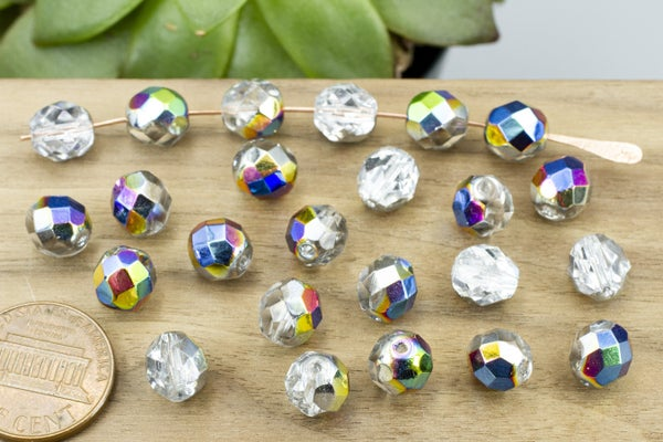 Czech Glass Vitrail Coated Faceted Round, 8mm