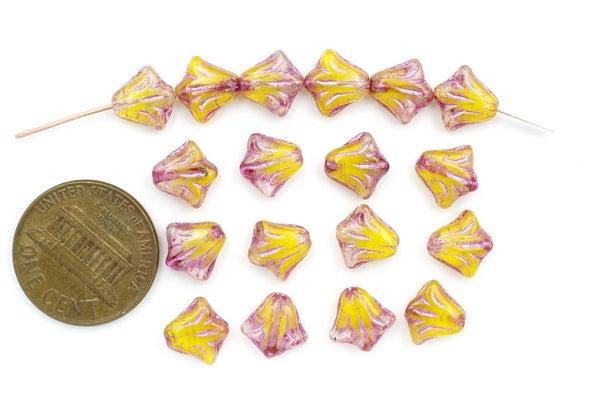 Czech Glass Lily, Metallic Pink Wash Banana, 8.5mm