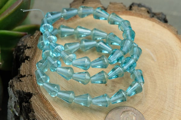 Czech Glass Faceted Drop, Blue Crystal, 8x6mm