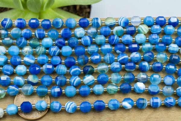 Blue Agate Art Deco Cut, Dyed, 6mm