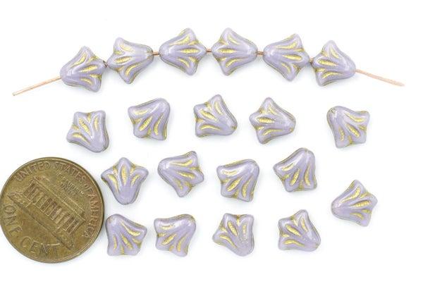 Czech Glass Lily, Lilac Gold, 8.5mm