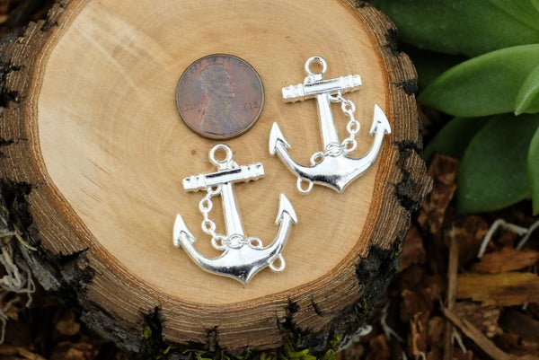 Anchor Charm, Bright Silver Plate, 30x26mm
