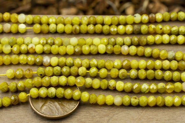 Dark Mix Yellow Opal Faceted Rondelle, 4x3mm