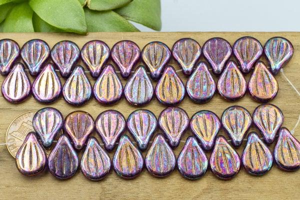 Preciosa Engraved Pip, Translucent Purple Iris, 14x10mm