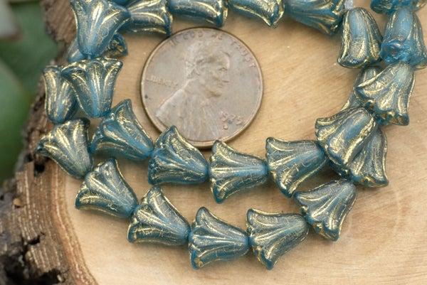 Czech Glass Lily, Matte Gold Teal, 10mm