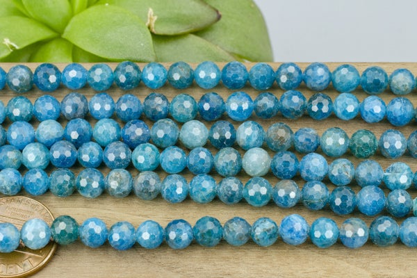 Apatite Faceted Round, 6mm