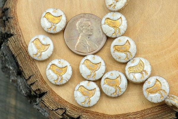 Czech Glass Bird Coin, Cream Bronze Wash, 12mm