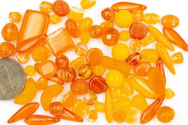 Premium Czech Glass Bead Mix, Orange