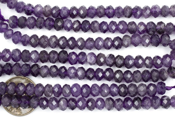 Amethyst Faceted Rondelle, 6x4mm
