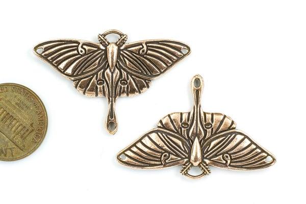 TierraCast Luna Moth Pendant Link, Antiqued Copper Plate, 26x40mm