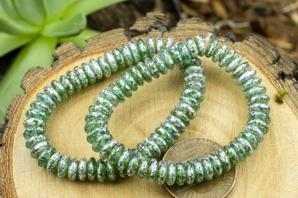 Czech Glass Saucer, Silver Leaf Emerald, 6x3mm