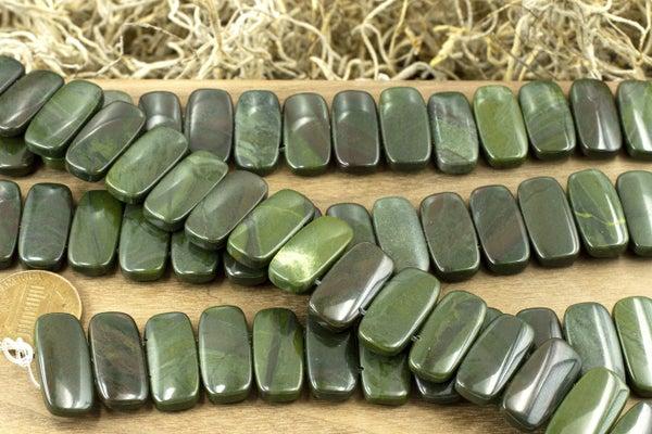 Dakota Stones African Green Jasper Double-Drilled Rectangle, 10x20mm