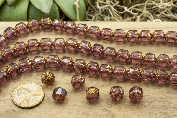 Czech Glass Cathedral, Bronze Amethyst, 8mm