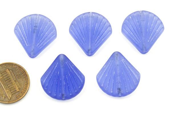 Cultured Sea Glass Shell Beads, Lt. Sapphire, 20mm