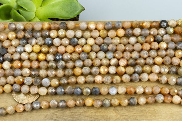 Mixed Sunstone Faceted Round, 5.5mm