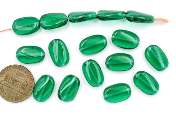 Czech Glass Twist Oval, Green Teal, 14x9mm