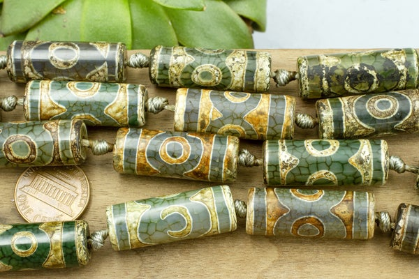 DZI Agate Tube, Green/Brown, 30x11mm