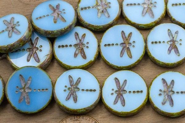 Czech Glass Tablecut Dragonfly, Pacific Blue, 17mm
