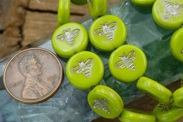 Czech Glass Bee Coin, Lime Platinum Wash, 12mm