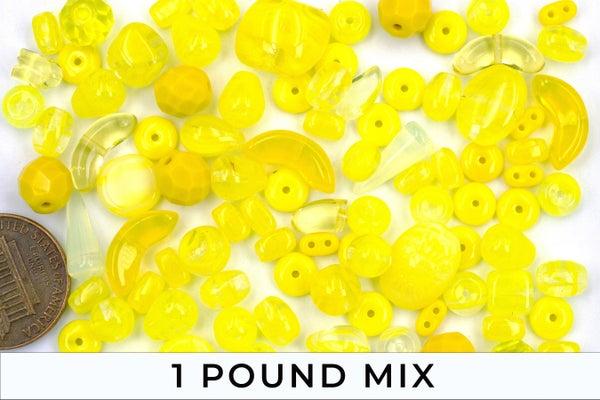 Premium Czech Glass Bead Mix, Yellow