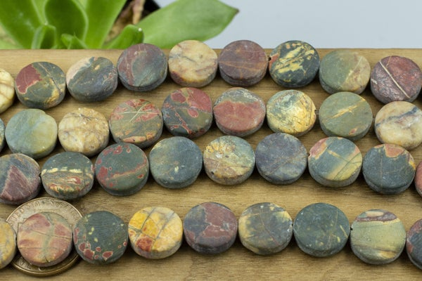 Dakota Stones Matte Red Creek Jasper Coin, Lots of Green, 12mm