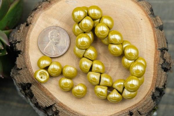 Czech Glass Mushroom Button, Mustard, 9mm