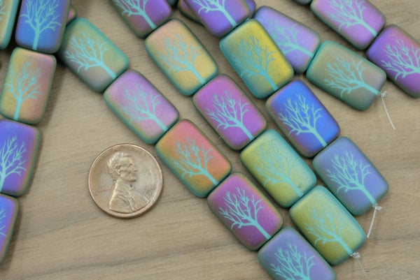 Czech Glass Laser Etched Tree, Matte Turquoise Rainbow, 19x12mm, Discounted due to some scratching, overall very nice