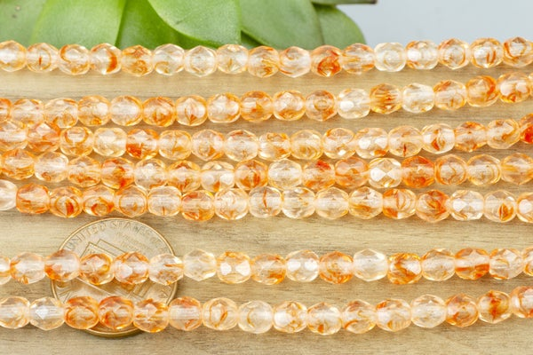 Czech Glass Faceted Round, Tangerine/Crystal, 5mm