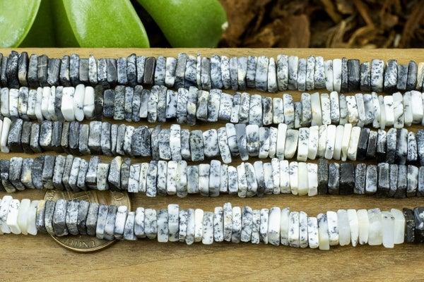 Indian-Cut Dendritic Opal Square Heishi, 6-6.5mm