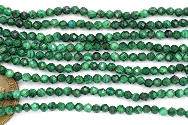 Malachite Faceted Round, 2.5mm