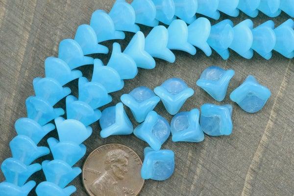 Czech Glass Petal Bell Flower, Blue Opal, 9x12mm