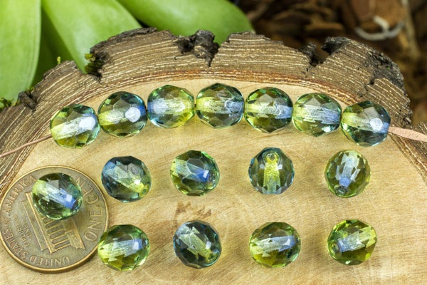 Czech Glass Faceted Two-Tone Round, Olive/Sapphire, 8mm
