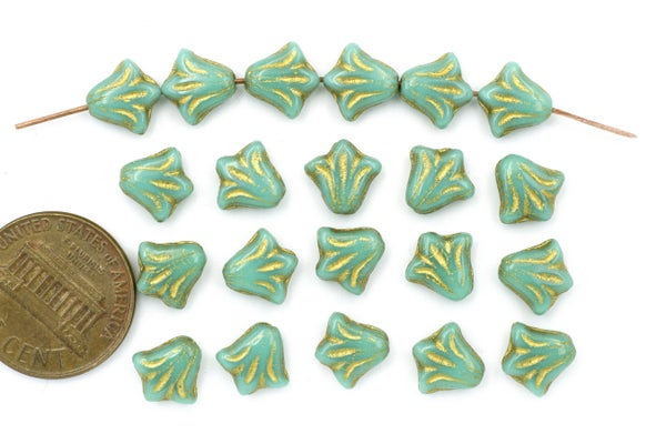 Czech Glass Lily, Turquoise Gold, 8.5mm