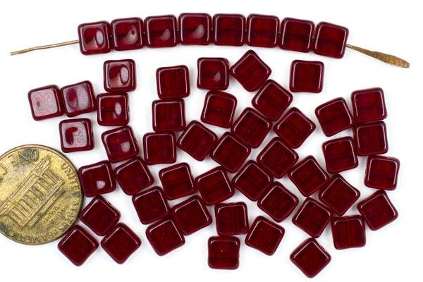 Czech Glass Square Tile, Garnet, 6mm