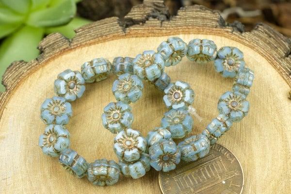 Czech Glass Accent Flower, Blue Opal, 7mm