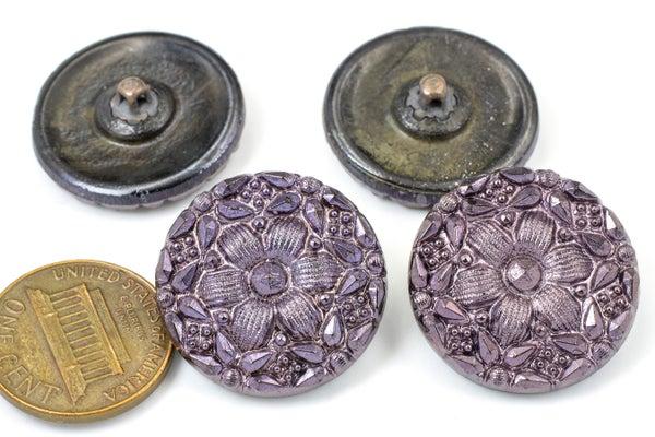 Vintage Czech Glass Buttons, Purple Flower, 22mm