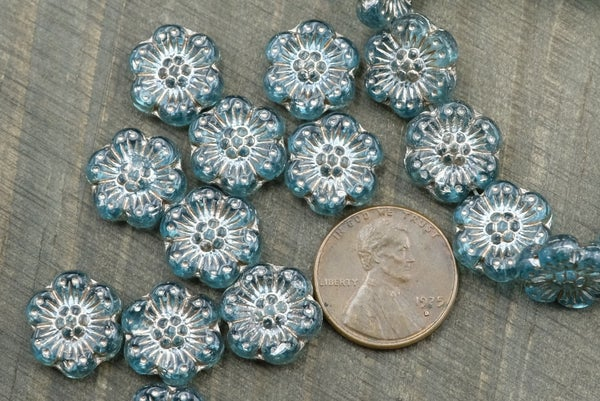 Czech Glass Camellia, Aqua Silver Wash, 13mm