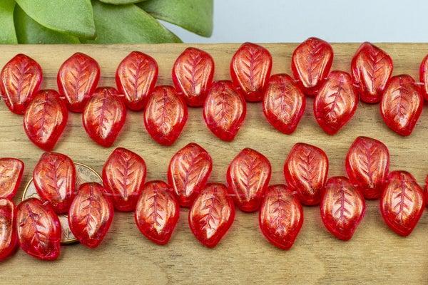 Czech Glass Wavy Leaf, Red Fuchsia, 15x10mm